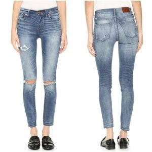 Madewell High Riser Skinny Jeans Torn Knee Edition